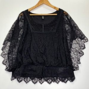 Style Co Black Lace Boxy Top